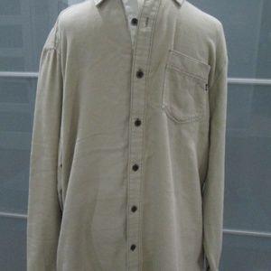 Long Sleeve Beige Flannel Shirt